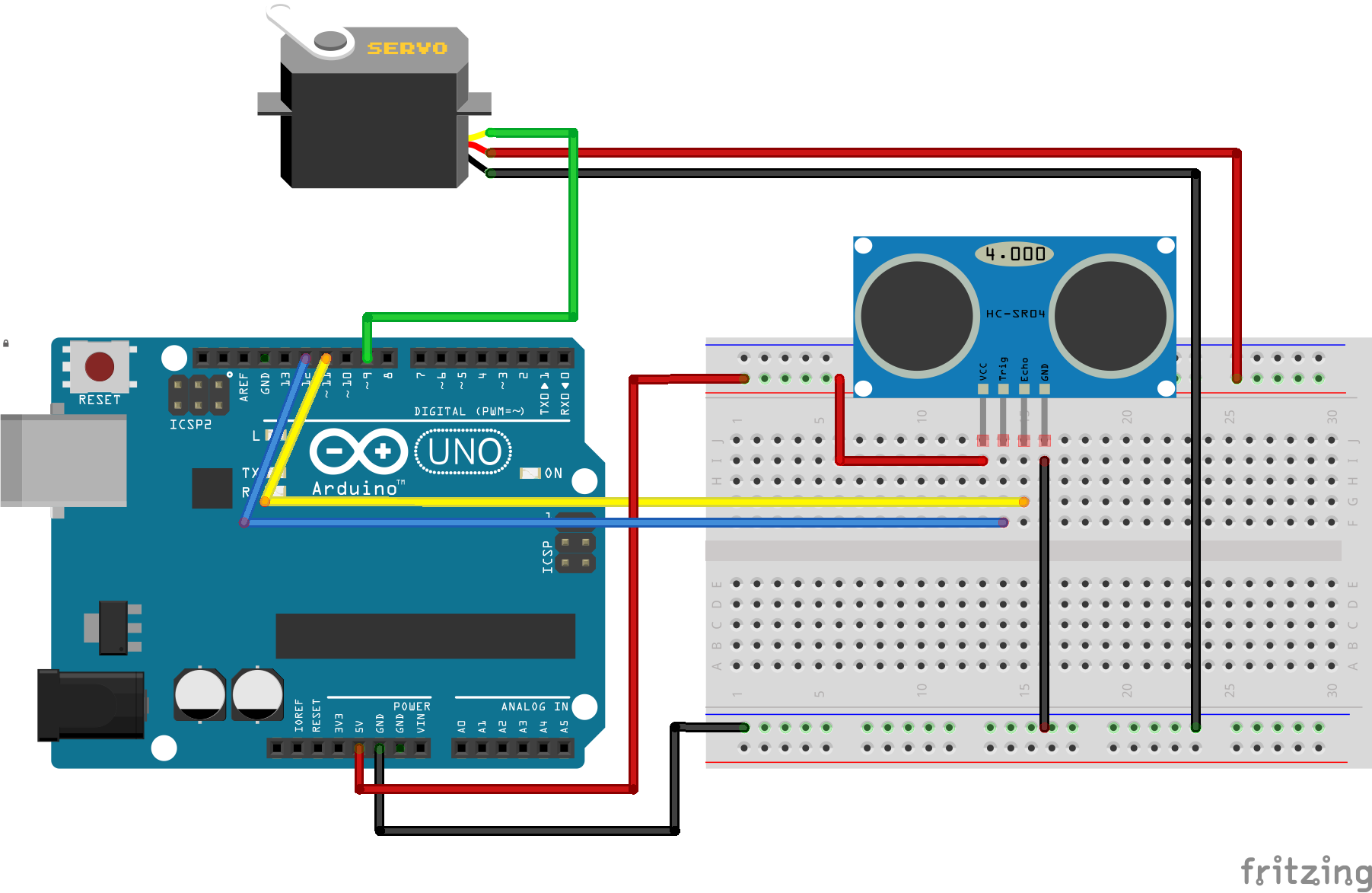To set up the circuit see the fritzing diagram for this tutorial Ultrasonic  Sensor to Servo Circit